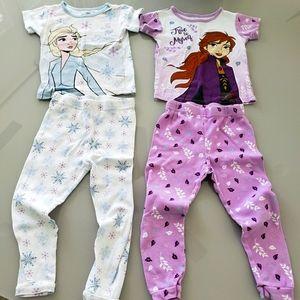 Frozen Elsa & Anna short sleeve Pj's toddler sz 4